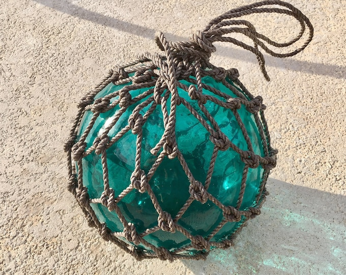 """Beach Decor, Turquoise Glass Fishing Float 12,5"""", Super Big, by SEASTYLE"""