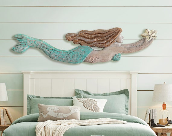 "Mermaid Driftwood 60x14x2"" XL Wood Sculpture Beach Décor by SEASTYLE"