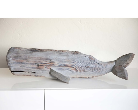 "Sale 10 % Off Driftwood 33"" Whale Grey Wood Statue Beach Décor by SEASTYLE"