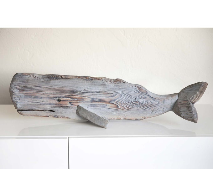 """Driftwood 33"""" Whale Grey Wood Statue Beach Décor by SEASTYLE"""