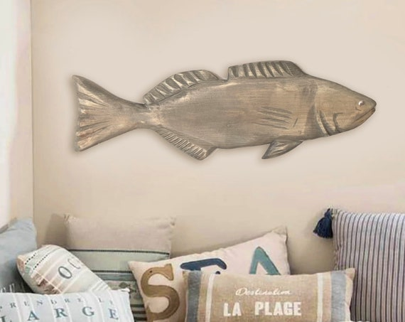 Mouth Bass 21 inch Fish 2d sculpture Driftwood Beach Décor by SEASTYLE