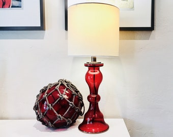 Nautical Accent Lamp and Fishing Float  2 pcs Red Set  Beach Decor by SEASTYLE