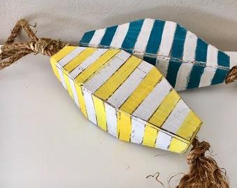 Beach Decor, Set Yellow and Akva Buoys, Vintage by SEASTYLE
