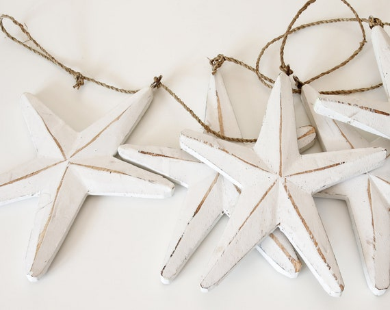 Beach Decor, White Wood Stars Garland Vintage Style,  by SEASTYLE