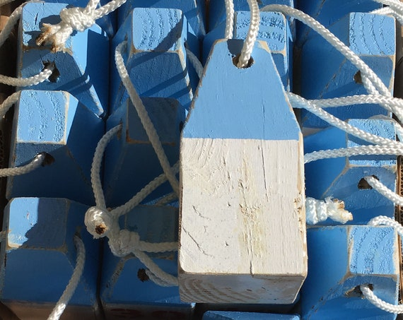 White Blue Lobster Buoy Beach Decor  Vintage Style Nautical by SEASTYLE