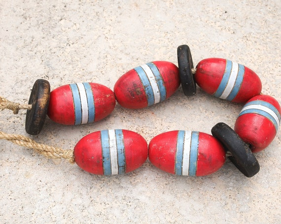 Beach Decor Vintage Red, Blue, White Lobster Buoy Nautical Wooden by SEASTYLE