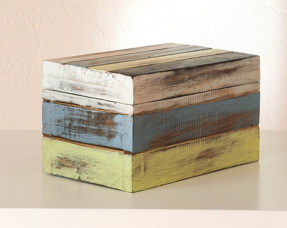"Wood Box Treasure 6.5x4x4"" Beach Decor Wooden by SEASTYLE"