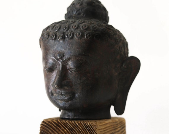 "Buddha Head Statue 9"" Handcrafted Wrought Iron Medium Beach Decor by SEASTYLE"