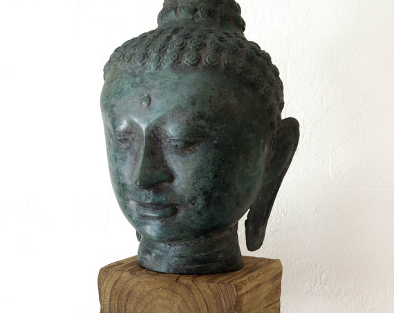 "Buddha Head Statue 15"" Handcrafted Wrought Iron Large Green Beach Decor by SEASTYLE"