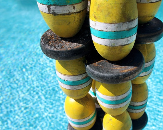 Vintage Lobster Buoy Yellow Turquoise Beach Decor  Nautical Wooden by SEASTYLE