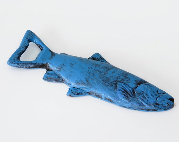 Fish Bottle Opener Blue Beach Decor Distressed by SEASTYLE