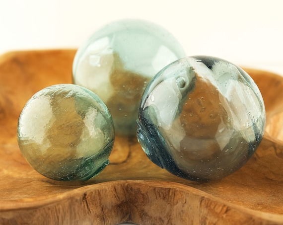 """Glass Float 3,5"""" Antique Japanese Fishing Blown Beach Decor Vintage by SEASTYLE"""