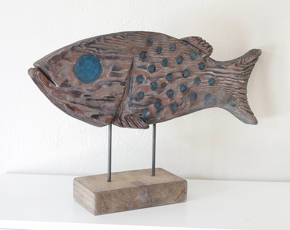 "Fish on Stand Statue 21x13"" Driftwood Beach Décor by SEASTYLE"
