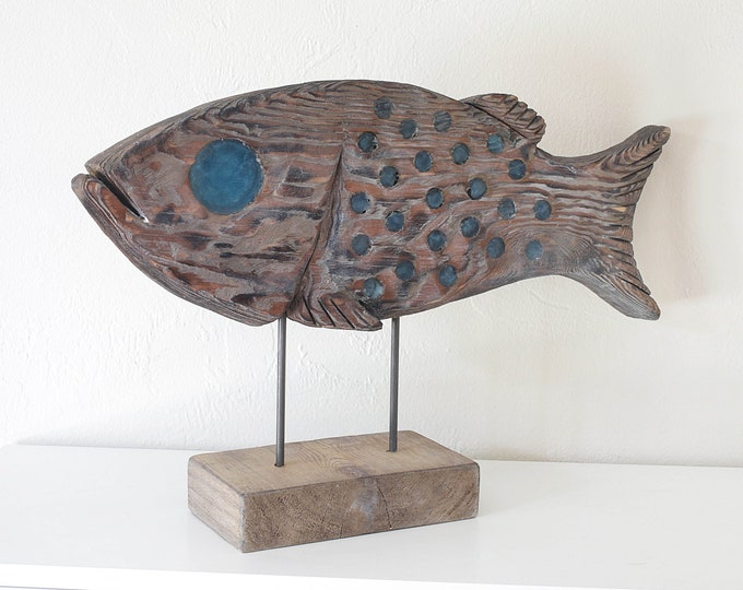 """Fish on Stand Statue 21x13"""" Driftwood Beach Décor by SEASTYLE"""