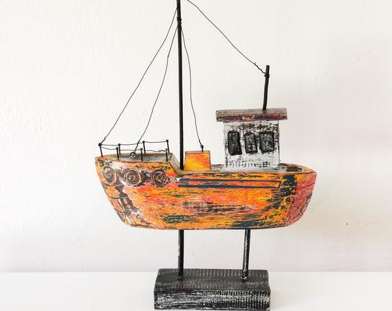 Boat Orange Teak Wood 17 inch Beach Décor by SEASTYLE