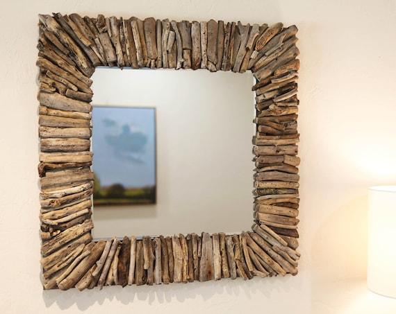 Driftwood Mirror 25x25 inch Rustic Handmade Beach Decor by SEASTYLE