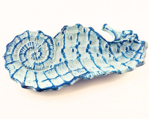 Sea Horse Cast Iron blue white Jewelry Soap Dish Beach Decor SEASTYLE