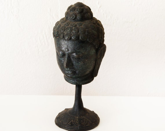 "Buddha Head Pole Stand 6"" Handcrafted Wrought Iron Sculpture Beach Decor by SEASTYLE"