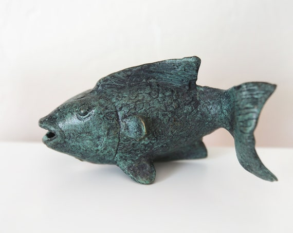 Fish Iron Green Patina Hand Crafted Sculpture Beach Decor by SEASTYLE