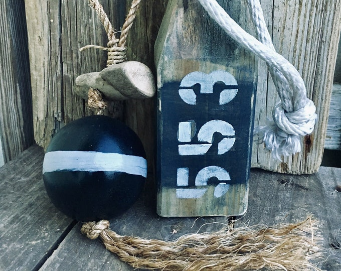 Beach Decor Set Grey Black Wood Buoy and Wood Fishing Float in Rope by SEASTYLE