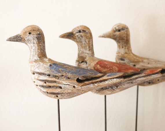 "Bird on Stand Wood Sculpture 15"" Driftwood Beach Décor by SEASTYLE"