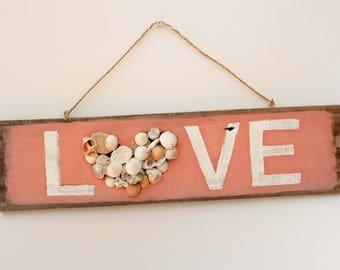 "Valentine's Beach decor 22x6"" LOVE Sign Nautical Reclaimed Wood Distressed Blue by SEASTYLE"