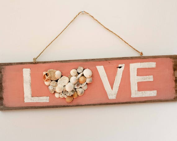 """Valentine's Beach decor 22x6"""" LOVE Sign Nautical Reclaimed Wood Distressed Blue by SEASTYLE"""