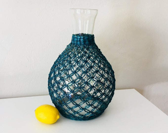 Vintage Glass Vase Blue Rattan Wrapped Beach Decor by SEASTYLE