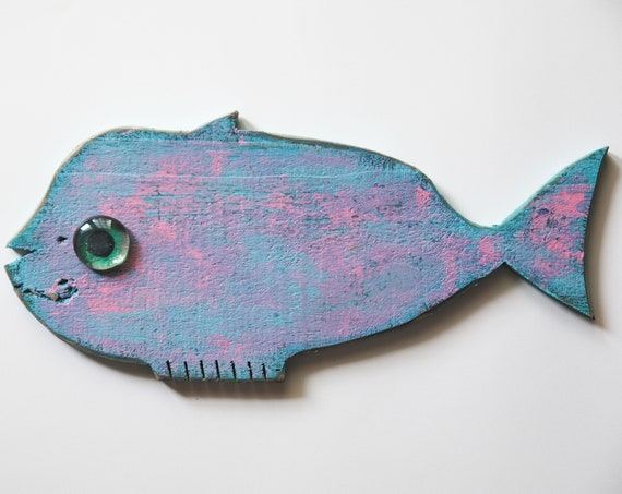 """Coastal Decor Fish 12x6"""" Pink Turquoise Reclaimed Wood 2D Beach Décor Sculpture by SEASTYLE"""