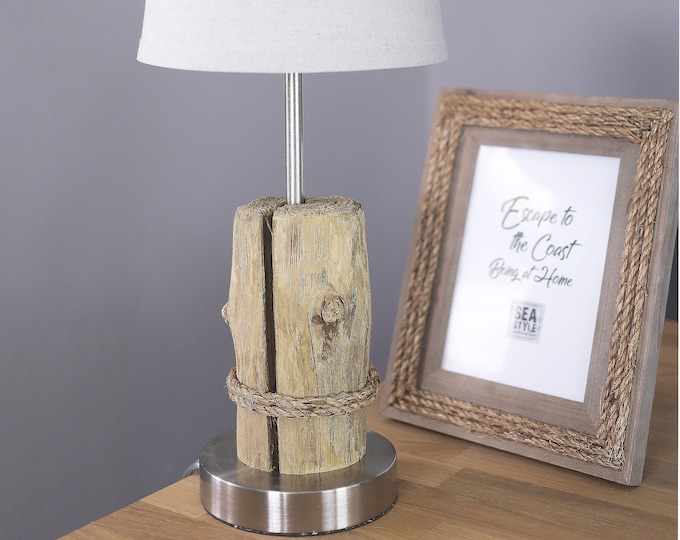 Nautical Accent Lamps, 1 pcs DriftWood, Manila Rope, Beach Decor by SEASTYLE