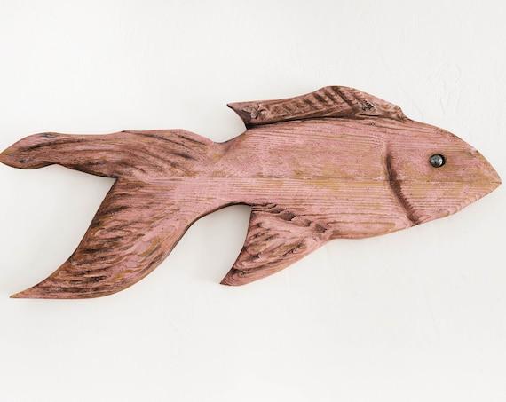 "Pink Driftwood Fish 30x14x2"" 2D Beach Décor Sculpture by SEASTYLE"