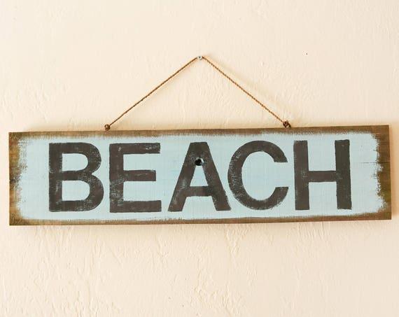 "Beach decor 22x6"" BEACH Sign Nautical Reclaimed Wood Distressed Blue by SEASTYLE"