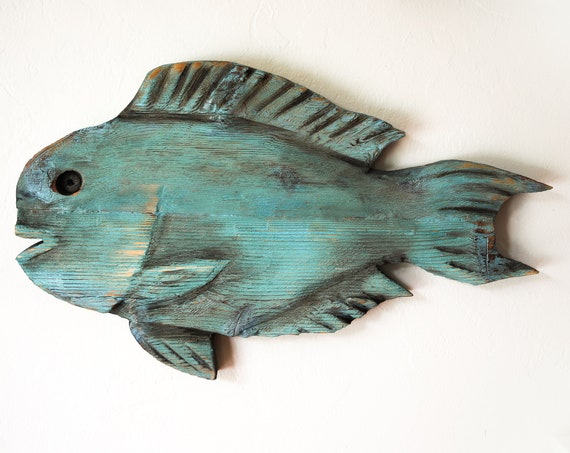 "Driftwood Parrot Fish 24x14"" 2D Beach Décor Sculpture by SEASTYLE"