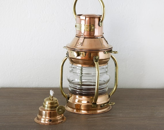 Oil Lamp Brass Copper Anchor Ship Lantern Beach Decor Vintage Nautical SEASTYLE