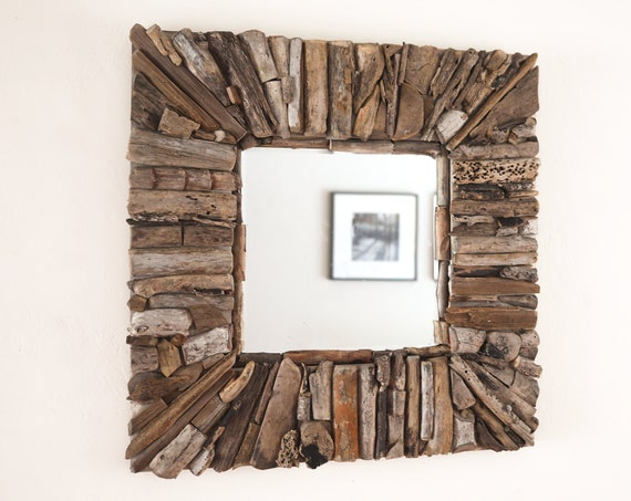"Driftwood 32x32"" Mirror Handmade Rustic Beach Decor by SEASTYLE"