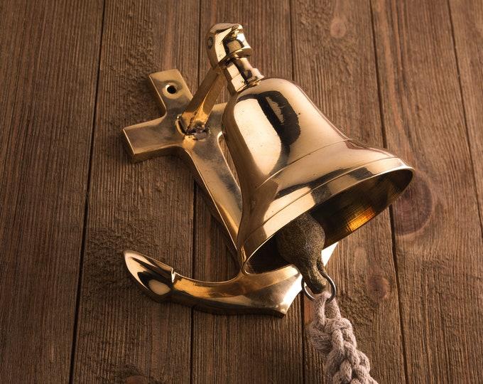 Brass Anchor Ship Bell Rope Nautical Maritime Wall Decor Beach Decor, SEASTYLE
