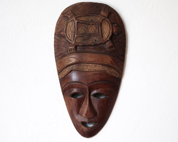 "Vintage Carved African Mask 14"" Wooden Beach Decor by SEASTYLE"