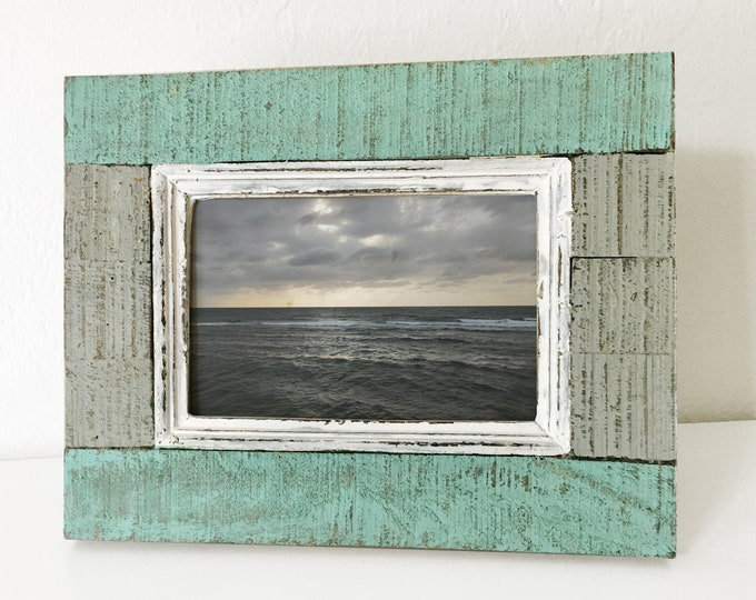 Vintage Picture Frame 4x6 Wood Nautical Beach Decor by SEASTYLE