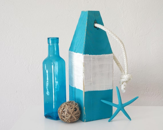 "Coastal Decor Vintage Style Set, 11"" Lobster Buoy Turquoise White and Bottle by SEASTYLE"