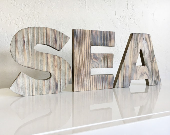 "Beach Décor SEA Sign 8 x 23"" Driftwood by SEASTYLE"