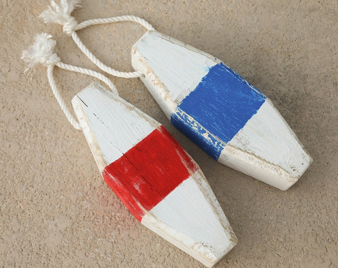"""Beach Decor 20"""" Lobster Buoy, Blue Red White Vintage  Nautical Wood by SEASTYLE"""