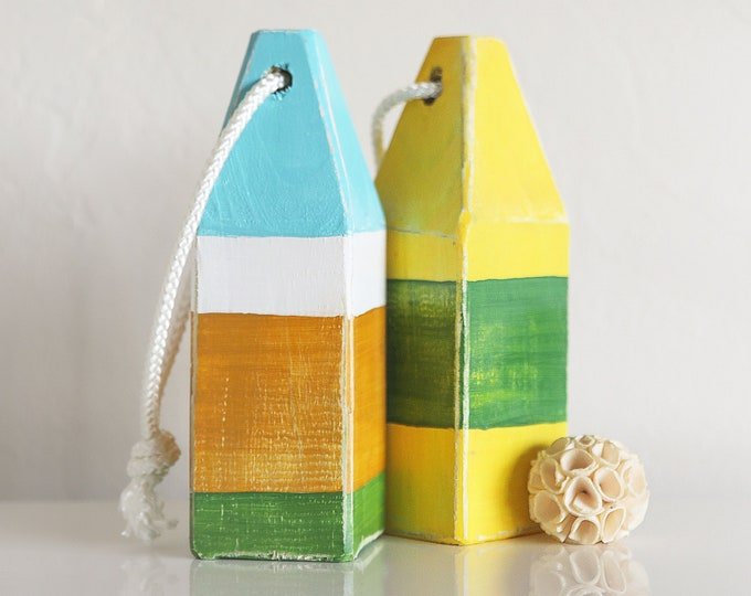 Coastal House Decor Set of Buoys yellow green blue Vintage style by SEASTYLE