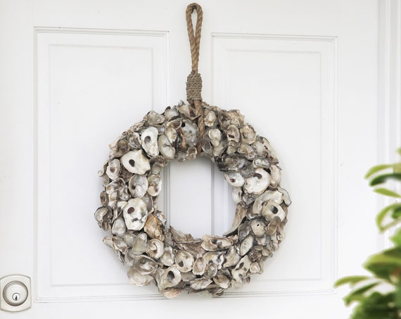 Oyster wreath for door Coastal  Beach Décor by SEASTYLE