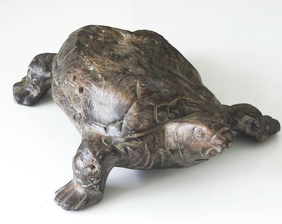 """Abstract TEAK Turtle Art 16x13x6"""" Beach Décor by SEASTYLE"""