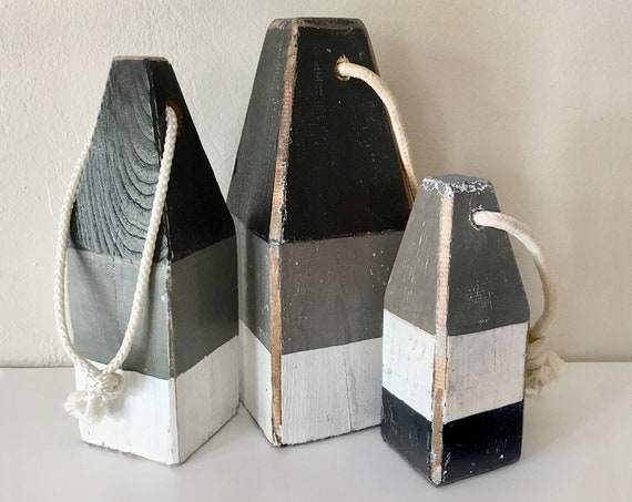 Black Gray White Coastal Decor Set of 3 Buoys Nautical Wooden by SEASTYLE