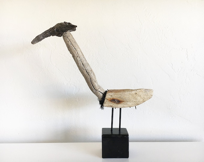 "Wood Sculpture 20x15x5"" Bird on Stand Driftwood Beach Décor by SEASTYLE"