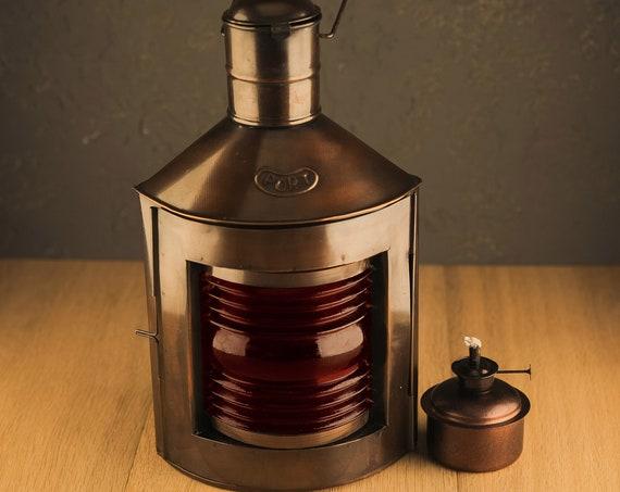 "Dark Antique Finish Port Lantern 12"" Ship Oil Lamp, Beach Decor, SEASTYLE"