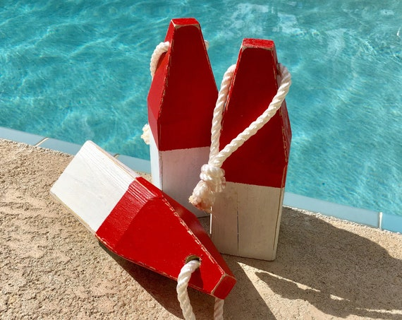 "Lobster Float Buoy, 11"" Red & White, Vintage Style, Nautical, Beach Decor,  by SEASTYLE"