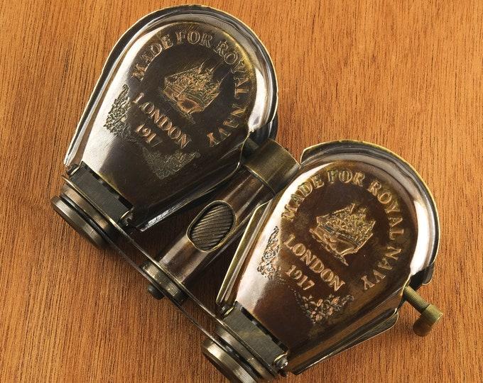 Binocular Telescope Spyglass Maritime Antique Brass Nautical Wood SeaStyle