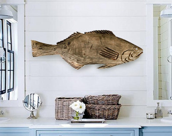 "Driftwood 20"" Mouth Bass Fish 2d sculpture Beach Décor by SEASTYLE"